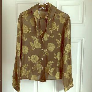 Silk blouse designer sheer Italy 42 army green